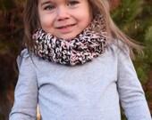 Handmade Toddler Pink, Black & White Infinity Scarf