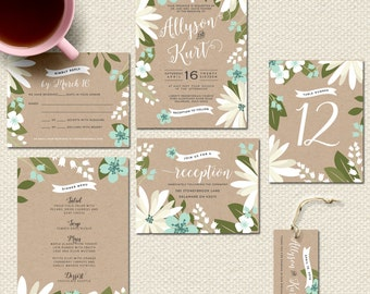 Printed Wedding Invitations Spring Floral Wedding Invites Kraft invitation suite Flowers Rustic Wedding Invitation Printed Wedding Suite