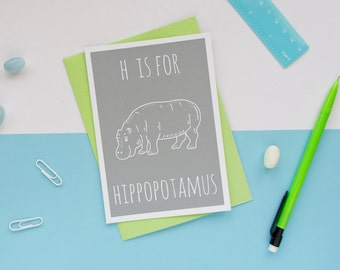 Hippo Card / Hippopotamus Card / Animal Alphabet Card / Blank Card / Hippo Notecard /  Hippo Birthday Card