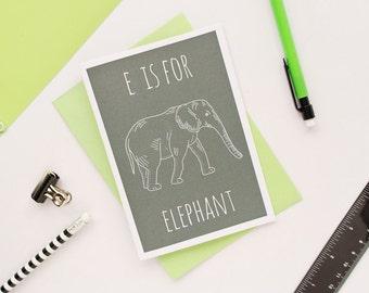 Elephant Card / Elephant Notecard / Animal Alphabet Card / Blank Greeting Card / Notecard / Animal Card / Elephant Birthday Card