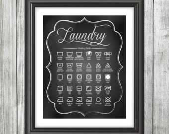 "LAUNDRY Washing Guide Decor Picture, DIGITAL Poster. 8x10"" & 11x14"" included, Modern Chalkboard Style Design, Printable File Only."