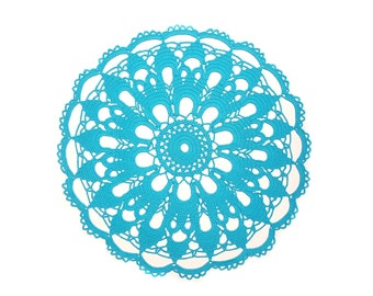 "Extra large Doily 20"", Crochet TURQUOISE blue Doily, New Hand Crochet Placemat, Round Doily, Crochet Tablecloth, Centre Table"