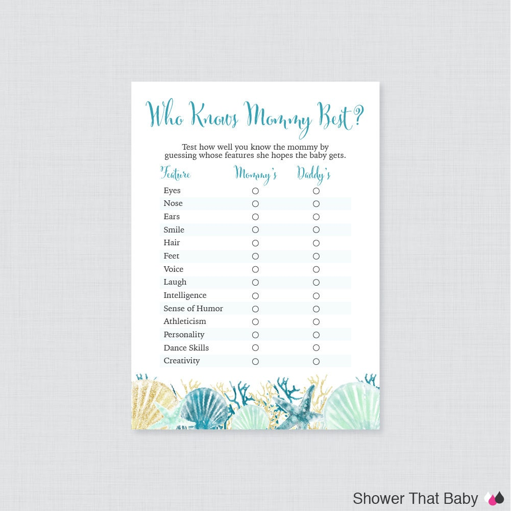 beach themed baby shower who knows mommy best printable blue