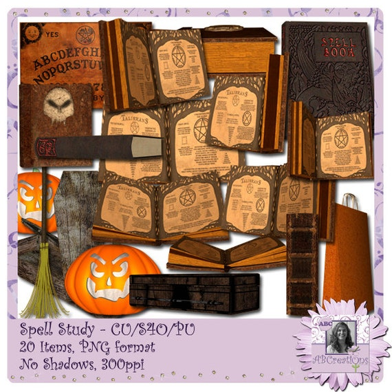 Spell Study, Halloween, Wicca, Magic, Spell Books, Ouija Board, Witch, Pagan, Jack-o-lantern, Broomstick, Coffin, Digital Scrapbooking