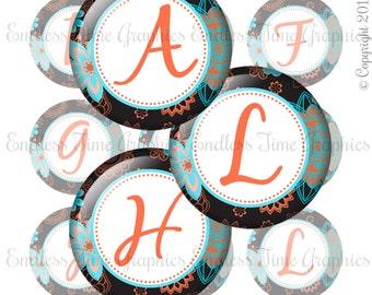 Boho Bottle Cap Images. Floral Alphabet Bottle Caps. 1 Inch Digital Circles. Initial Badge Reel. Boho Pendant Jewelry. Floral Badge Reel 139