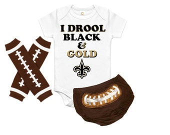 Baby Football Onesie Set, Baby First Football, Baby NFL Outfit, Baby NFL Football Onesie, Baby Personalized Outfit, nfl new orleans saints