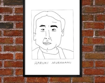 Badly Drawn Haruki Murakami Literary Poster - *** BUY 4, GET A 5th FREE***