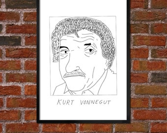Badly Drawn Kurt Vonnegut - Literary Poster - *** BUY 4, GET A 5th FREE***