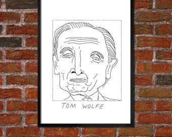 Badly Drawn Tom Wolfe - Literary Poster - *** BUY 4, GET A 5th FREE***