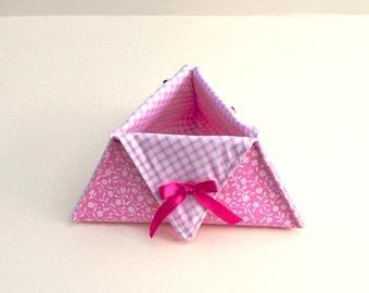 Handmade Fabric Box, Triangular Basket, Fabric Storage Box, Triangle Shape Box, Custom Fabric Basket, Fabric Bread Basket, Storage Tidy,