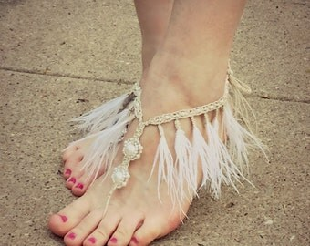 Handmade Sandals Barefoot Sandals Feather Fringe - Bridal sandals Fringe Tassel Jewelry Beach Wedding shoes toe thong White footless sandals