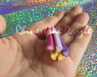 5pc Heart Polymer Clay Cane, nail design, nailart, nail decoration, 3D nailart, fimo clay cane, polymer cane, heart fimo, heart polymer cane