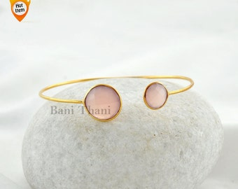 Pink Chalcedony Bangle - Bracelets- Gold Bangle - Gemstone Bangle - Sterling Silver Bangle #1416