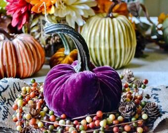 1 Medium Bordeaux Silk Velvet Pumpkin, Fall Decor, Table Centerpiece, Homemade Rustic Decoration