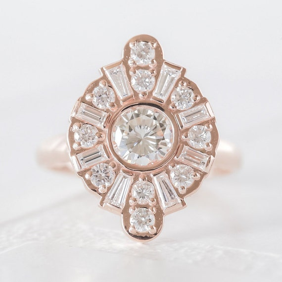 Items similar to rose gold art deco engagement ring for Deco maison rose gold