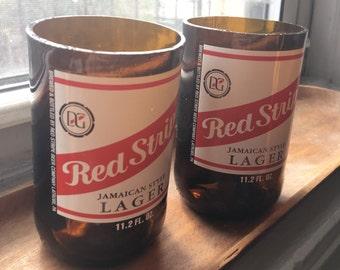 Handcut Red Stripe Beer Bottle Drinking Glasses (2)
