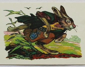 "Illustrator Tauber. Vintage Soviet Postcard ""The Hare and the Hedgehog"" Brothers Grimm - 1974. Sovetskiy hudozhnik. Rabbit, Birds, Green"