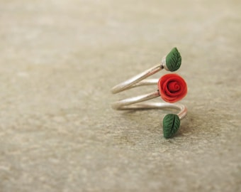 Coral rose ring, Antique Silver Plated Brass, Adjustable Ring, polymer clay ring, flower ring, spring ring