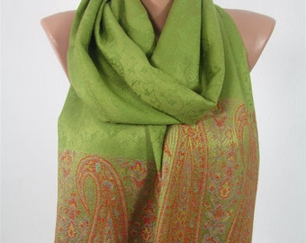 St Patricks Day Scarf  Pashmina Scarf  Green Scarf Shawl Wedding Scarf Girlfriend Gift  Fashion Accessories Easter Holiday Gift