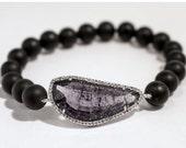 Amethyst Gemstone Bracelet, Purple Stone Bracelet, Amethyst Black Bead Bracelet, Healing Crystal Amethyst, Stone Bracelet for Women