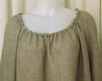 Taupe Faux Raw Silk, Long Sleeve, Pirate, Fairy, Peasant Blouse, Size M