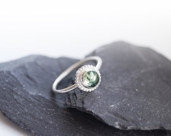 Green Moss Agate Beaded Setting Sterling Silver Ring ~ statement ring, stacking ring, gemstone, unique, gothic, solitaire