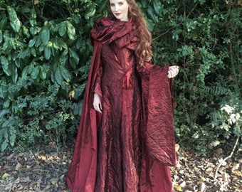Game of Thrones Melisandre Costume - Red Dress Cloak Cosplay Sorceress Medieval Dress - Halloween