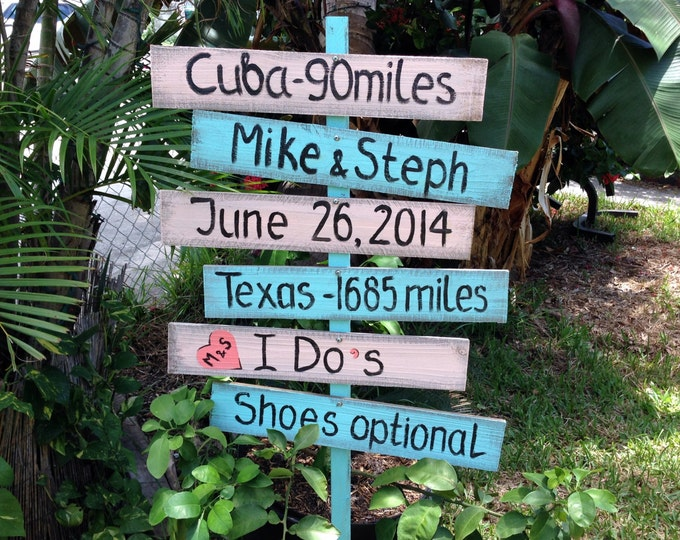 Directional Wedding Sign, Rustic Wedding Decor, I Do's Shoes Optional, Beach Nautical Wedding Sign