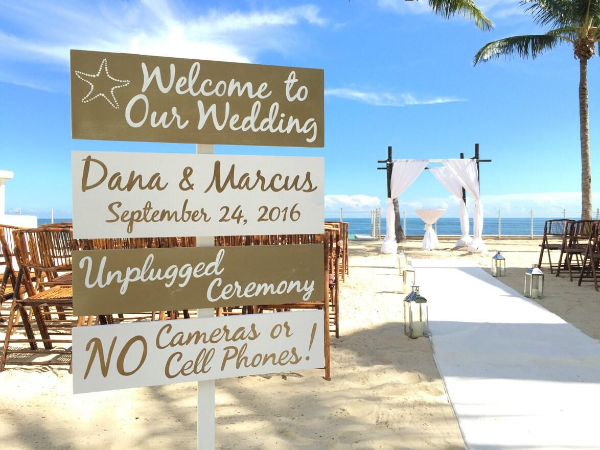 Gold Welcome wedding sign, Beach wedding decor, Directional sign ...