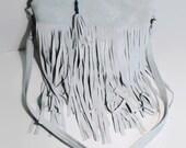Fringe Cross Body Bag, Light Blue Suede (leather), Boho Trend, Travel Sack, Suede Purse, Fringe Leather Bag, Fringe Hippie Bag, Possible Bag
