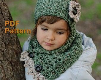 TWO CROCHET PATTERNS: Khaki crochet headband with button and flower #8 + Khaki crochet scarf with buttons #9