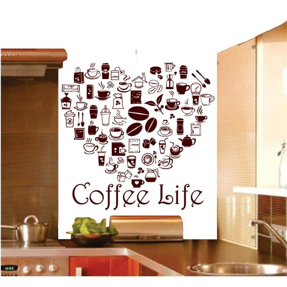 Kitchen Interior Design Quotes: Coffee Wall Decals Cup Sticker Quotes Decal Vinyl By CozyDecal
