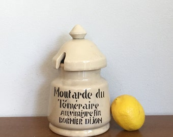 Vintage French Mustard Jar Moutarde Earthenware Jar Mochaware French Country Decor