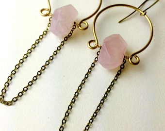 Aphrodite Rose Quartz Tassel Loupe Earrings