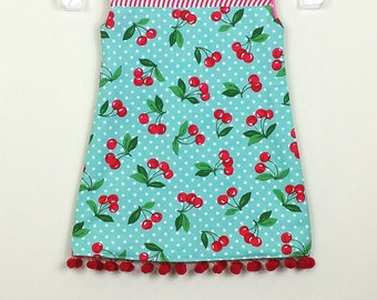 """Size 3 -  Fully Reversible - """"Alexandra Dress"""" - in Retro Blue Cherries and Retro Pink Cherries on reverse - Pom Pom trim for extra fun"""