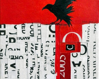BEAK GRAFFITI 17- Raven, Corvid Mixed Media & Collaga painting-
