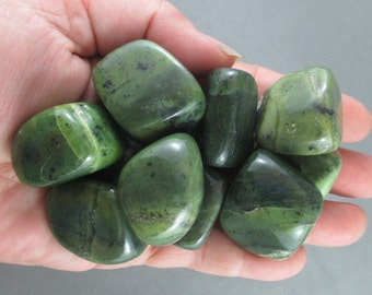 2 Nephrite Jade Stones Polished - Good Luck Crystal, Protection Stone, Natural Healing Crystals & Stones, Energy Healing, Heart Chakra T043