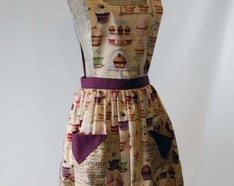Vintage Style Women's Full Length Kitchen Baker's Apron with Pockets, Size Small to Medium