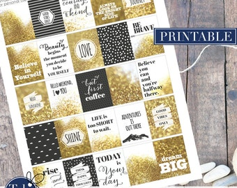 Printable QUOTE planner stickers in black and gold glitter. Printable planner sticker kit. life is a journey. Love, shine, dream big.