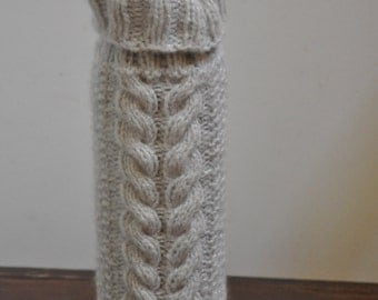 Hand knit wine bottle sweater with cables