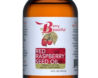 Red Raspberry Seed Oil - 16 Fl Oz (473 ml) - Cold Pressed by Berry Beautiful from locally grown Raspberries - 100% Pure & Unrefined