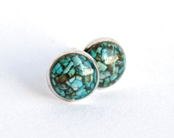 FREE SHIPPING // Turquoise Stud Earrings // Turquoise Studs // Turquoise Earrings // Turquoise Stone Earrings // Turquoise Post Earrings