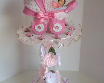 Pink centerpiece for baby shower