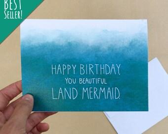 "Land Mermaid; 4"" x 6"" Birthday Card, Parks and Rec, Mermaid, Friends, Partner, Wife, Girlfriend, Blank, Teal, Blue, Funny"