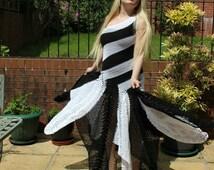 Handmade, Hand Crochet Elegant Black & White Maxi Dress
