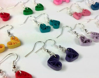 Tiny Heart Earrings Multiple Colors, small heart earrings, bridesmaid earrings, different color choices, minimalist earrings, paper earrings