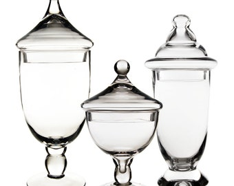 "Apothecary Jar Glass Candy Buffet Jar Set of 3 pcs. H-9.5"", 13"" and 16.5"". #GAJ111/118S/113"