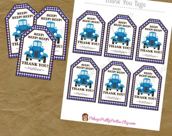 Blue TRUCK  Birthday Party Thank You Tags Antique Chevrolet Farm Truck
