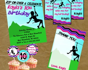 ZIPLINE Zip Line Party Birthday PACKAGE Invite, Thank You Tags, Thank You Note and Cupcake Toppers