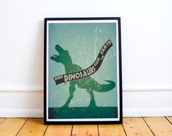 Jurassic Park Print - When Dinosaurs Ruled The Earth - Minimalist Style Print - (Available In Many Sizes)